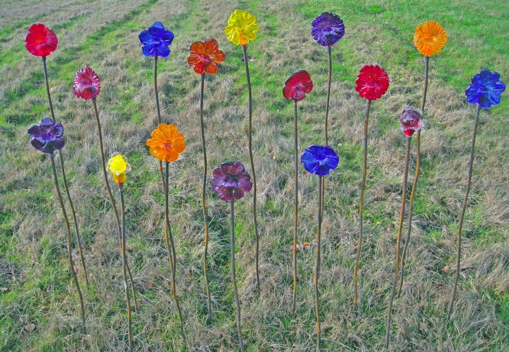 Handblown glass Garden Flowers