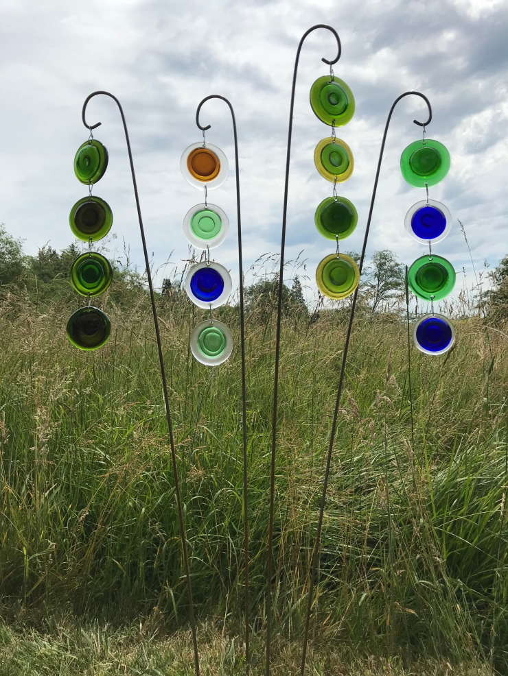 Garden Art glass pendants made from recycled bottles